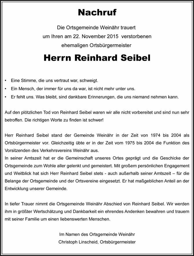 Traueranzeige Rinhard Seibel