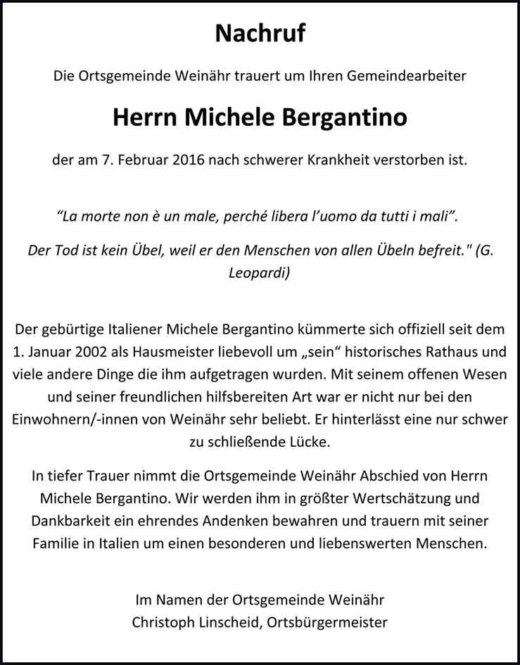 Nachruf Michele Bergantino