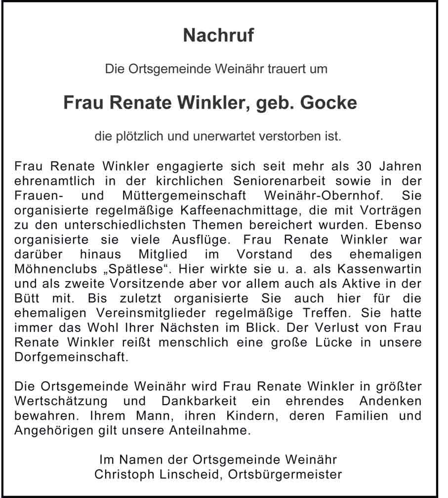 Nachruf Renate Winkler